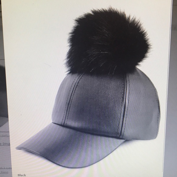 Black faux leather cap hat with Pom Pom 1e3f0399ca69